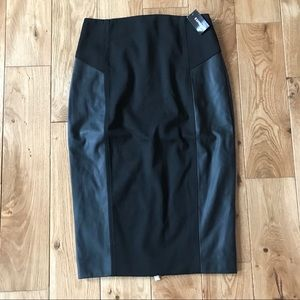 Express pencil leather trim zip skirt career offic